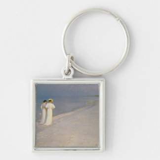 Summer Evening on the Skagen Southern Beach Silver-Colored Square Keychain