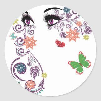 Summer Eyes with Floral 4 Classic Round Sticker