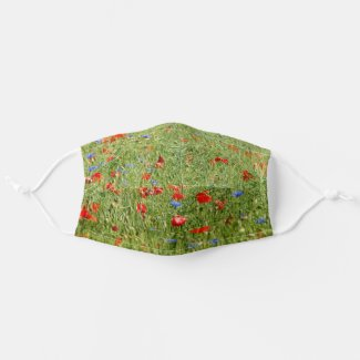 Summer field with red and blue flowers cloth face mask