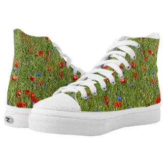 Summer field with red and blue flowers High-Top sneakers