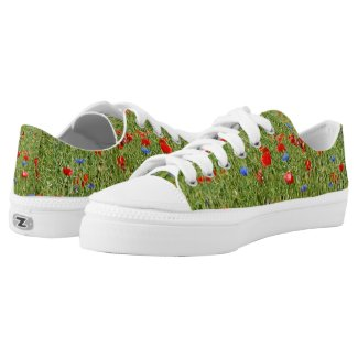 Summer field with red and blue flowers Low-Top sneakers