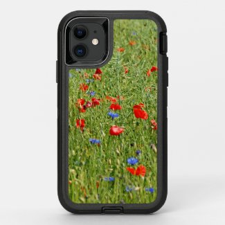 Summer field with red and blue flowers OtterBox defender iPhone 11 case