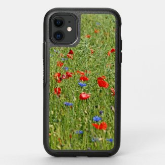 Summer field with red and blue flowers OtterBox symmetry iPhone 11 case