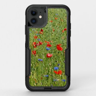 Summer field with red and blue flowers OtterBox commuter iPhone 11 case