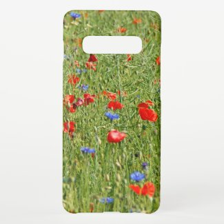Summer field with red and blue flowers samsung galaxy s10+ case
