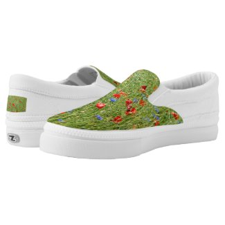 Summer field with red and blue flowers Slip-On sneakers
