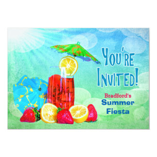 SUMMER FIESTA PARTY INVITATION - TROPICAL BEVERAGE
