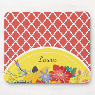 Summer Fiesta Red Floral Quatrefoil With Name Mouse Pad