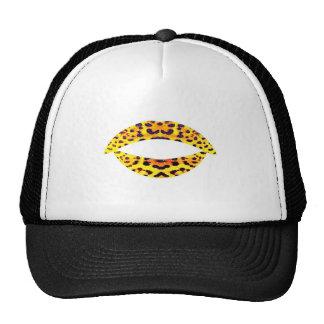 SUMMER FIRE LEOPARD PRINT KISS LIPS SMILE TATTOO MESH HAT