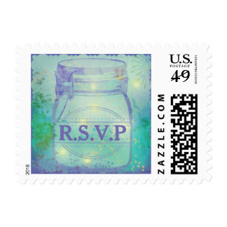 Summer Firefly Mason Jar RSVP Postage Stamps