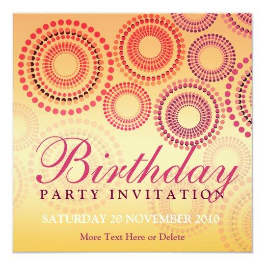 Summer Fireworks Party Birthday Invitation