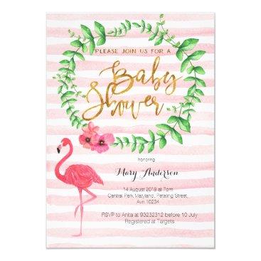 Toddler & Baby themed Summer Flamingo Baby Shower invitation