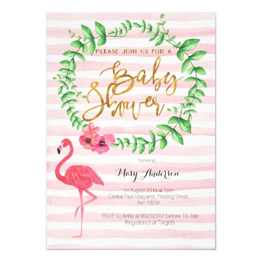 summer flamingo baby shower invitation | zazzle, Baby shower invitations