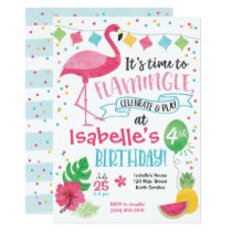 Summer Flamingo Birthday Invitation, Flamingle Card