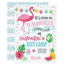 Summer Flamingo Birthday Invitation, Flamingle Invitation