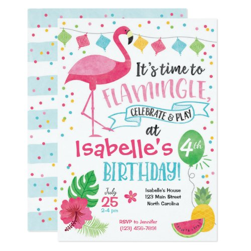 Summer Flamingo Birthday Invitation, Flamingle Invitation