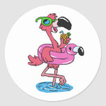 Summer Flamingo with sunglasses Classic Round Sticker
