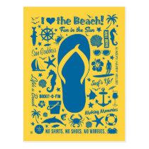 Summer Flip Flop Pattern Postcard
