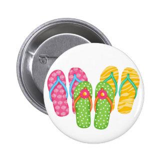 Summer Flip Flops 2 Inch Round Button