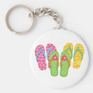 Summer Flip Flops Basic Round Button Keychain