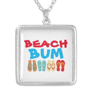 Summer Flip Flops Beach Bum Silver Plated Necklace