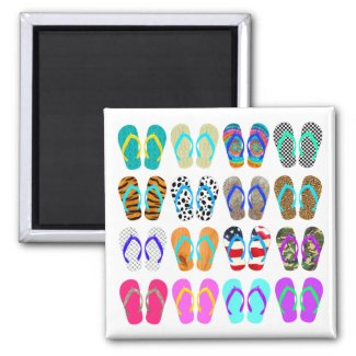 Summer Flip-Flops Chart 2 Inch Square Magnet