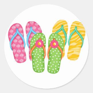 Summer Flip Flops Classic Round Sticker