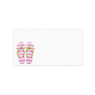 Summer Flip Flops Isolated On White Background Address Label
