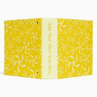 Summer Floral Design. Sunny Yellow. 3 Ring Binders