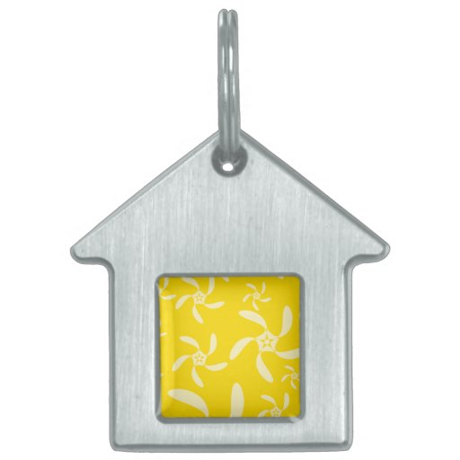 Summer Floral Design. Sunny Yellow. Pet ID Tag