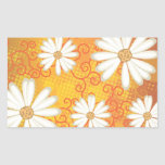 Summer Floral Dotted Tribal Daisy Tattoo Pattern Rectangular Sticker