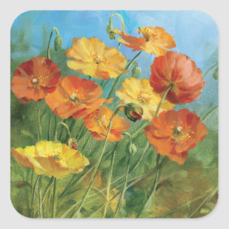 Summer Floral Field Square Sticker