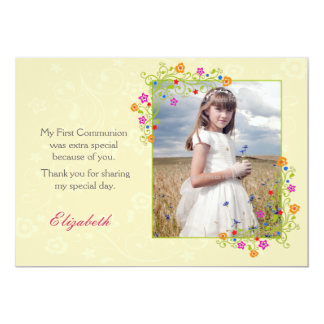Summer Floral Frame, Yellow Photo 5x7 Paper Invitation Card