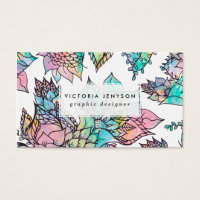 Summer floral hand drawn watercolor pattern business card