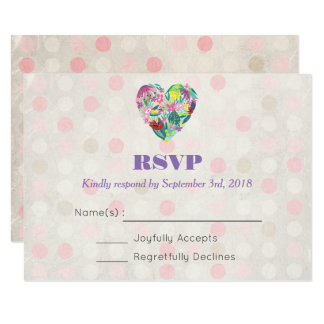 Summer Floral Heart in Pink and Green Wedding RSVP Card