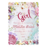 Summer Floral It's a Girl Baby Shower Card