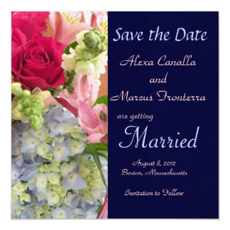 Summer Floral Mix Wedding Save the Date Announceme Card