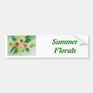 Summer Floral - watercolor and ink Car Bumper Sticker