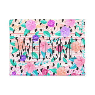 Summer floral watercolor hand drawn aztec patttern doormat