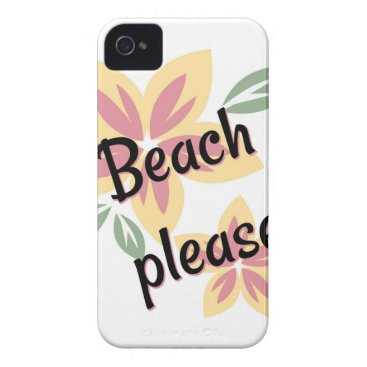 Beach Themed Summer Florals - Beach Please iPhone 4 Cover
