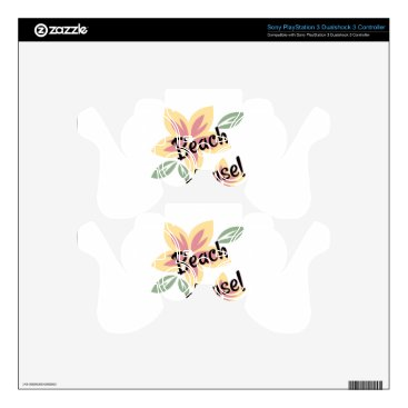 Beach Themed Summer Florals - Beach Please Skins For PS3 Controllers
