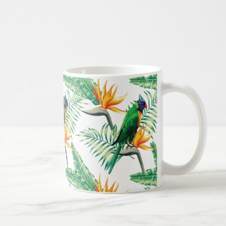 Summer Flower And Colorful Parrot Classic White Coffee Mug