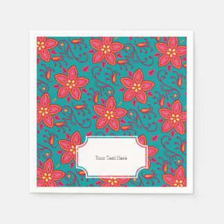 Summer Flower and Paisley Standard Cocktail Napkin