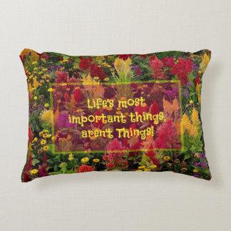 Summer Flower Garden Orlando Inspirational Quote Decorative Pillow