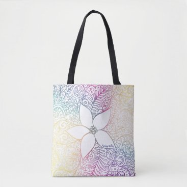 Beach Themed Summer Flower Large Tote Bag