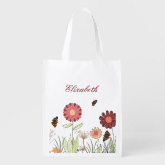 Summer flower meadow Brown burgundy Grocery Bag