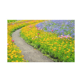 Summer flowers at the garden way canvas print
