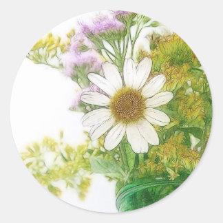 Summer Flowers Bouquet Classic Round Sticker
