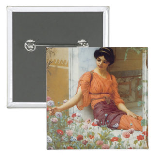 Summer Flowers by John William Godward 2 Inch Square Button