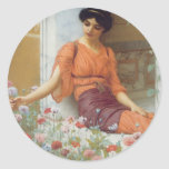 Summer Flowers by John William Godward Classic Round Sticker